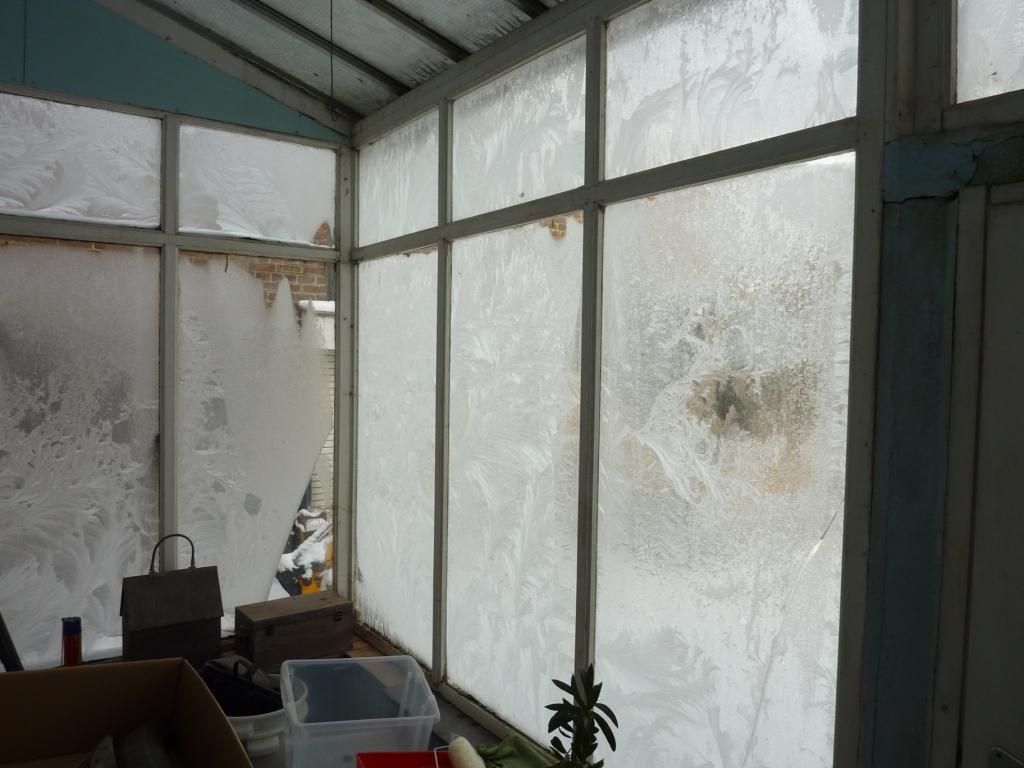 ijsbloemen op veranda